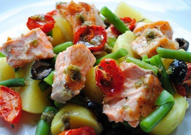 Салат с теплым лососем рецепт с