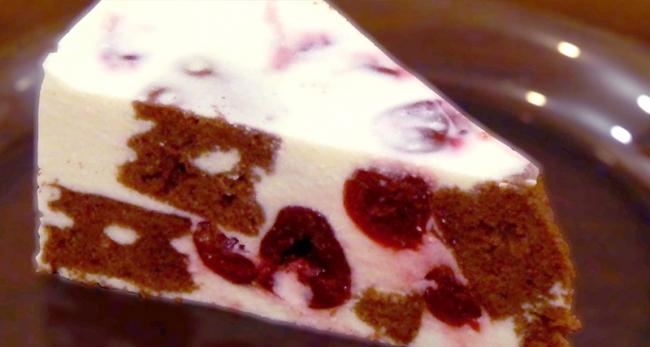 Творожный торт-суфле с вишней