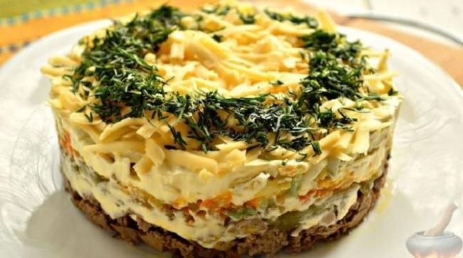Нежный салат с куриной печенью (ВИДЕО)