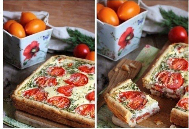 Сырно-помидорный пирог.