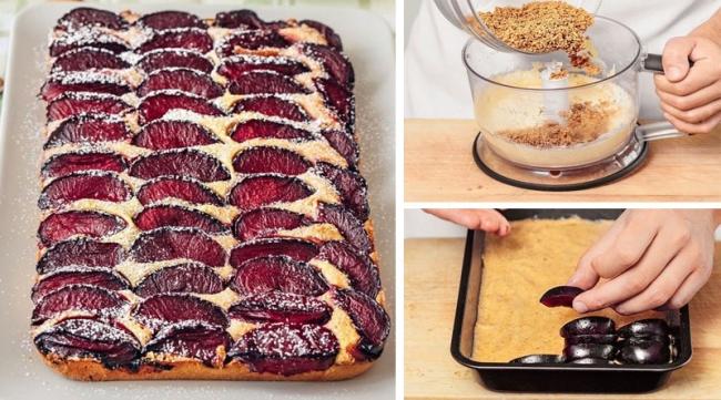 Миндальный пирог со сливами.