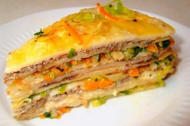 Блинный салат-торт с курицей и грибами