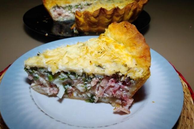 Пирог Киш лорен с копченой курицей и сыром