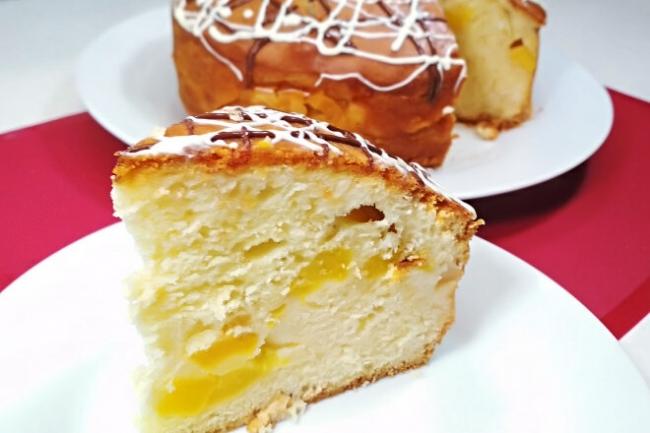 Пирог с консервированными персиками Каравай без дрожжей