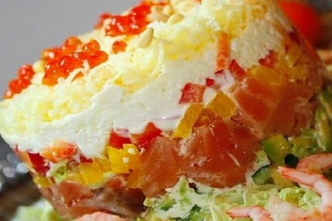 Слоеный салат-торт «Семужный»