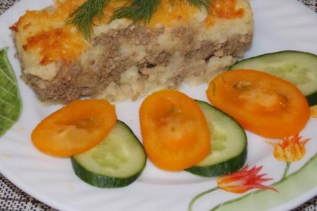 Картофельная запеканка с говяжьей печенью в духовке